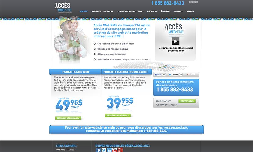 Accès Web PME page d'accueil