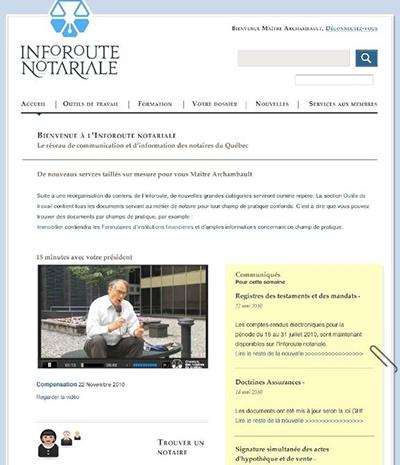 Page d'accueil extranet de la chambre des notaires du Québec