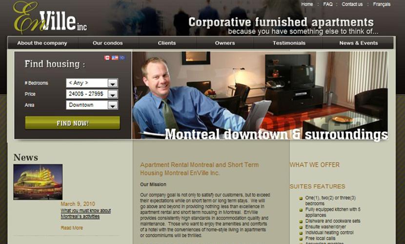 Site Web du groupe En Ville Inc. avant la refonte