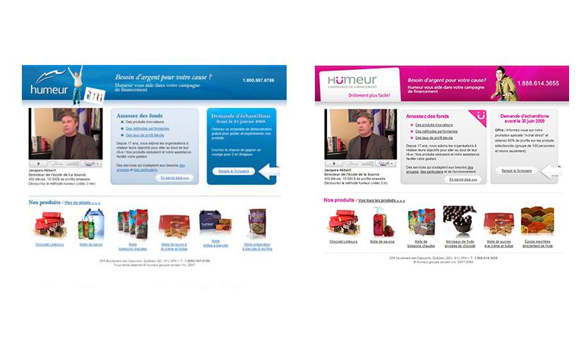 Site Web de Humeur campagne de financement avant et après