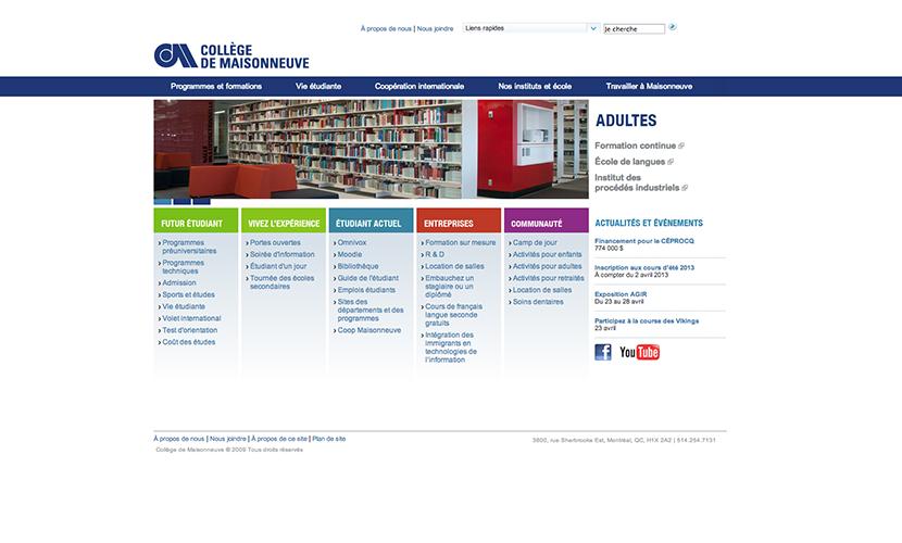 Site Web du collège de Maisonneuve après la refonte