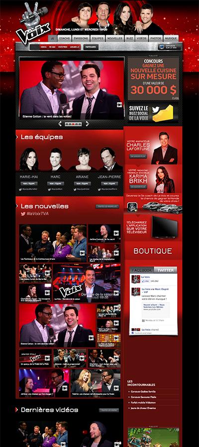 TVA La Voix page d'accueil
