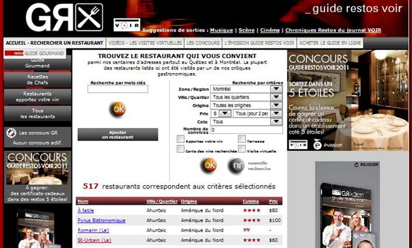 Site Web guide restos du journal Voir