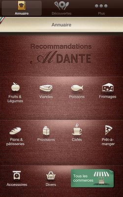 Application Al Dante accueil finale